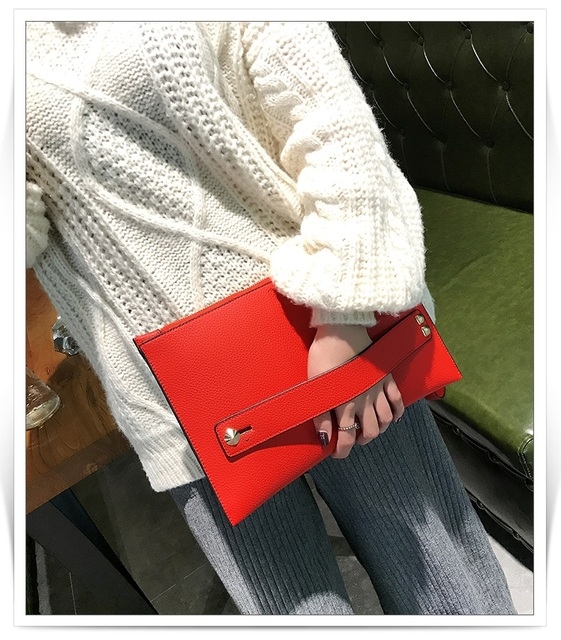 New Fashion Women Envelope Clutch Bag PU Leather Female Day Clutches Red Women Handbag Wrist clutch purse evening bags bolsas 1