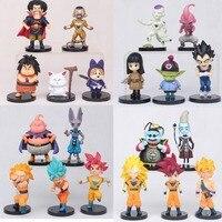 20pcs/set Dragon Ball Z Super Saiyan Goku Trunks Champa Beerus Piccolo Majin Buu PVC Figures Collectible Model Toys 5 7cm