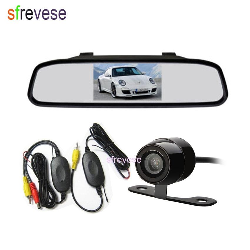 4.3 LCD Mirror Monitor + Waterproof Mini Wireless Reversing Parking Camera Car Rear View Kit 170 Degree