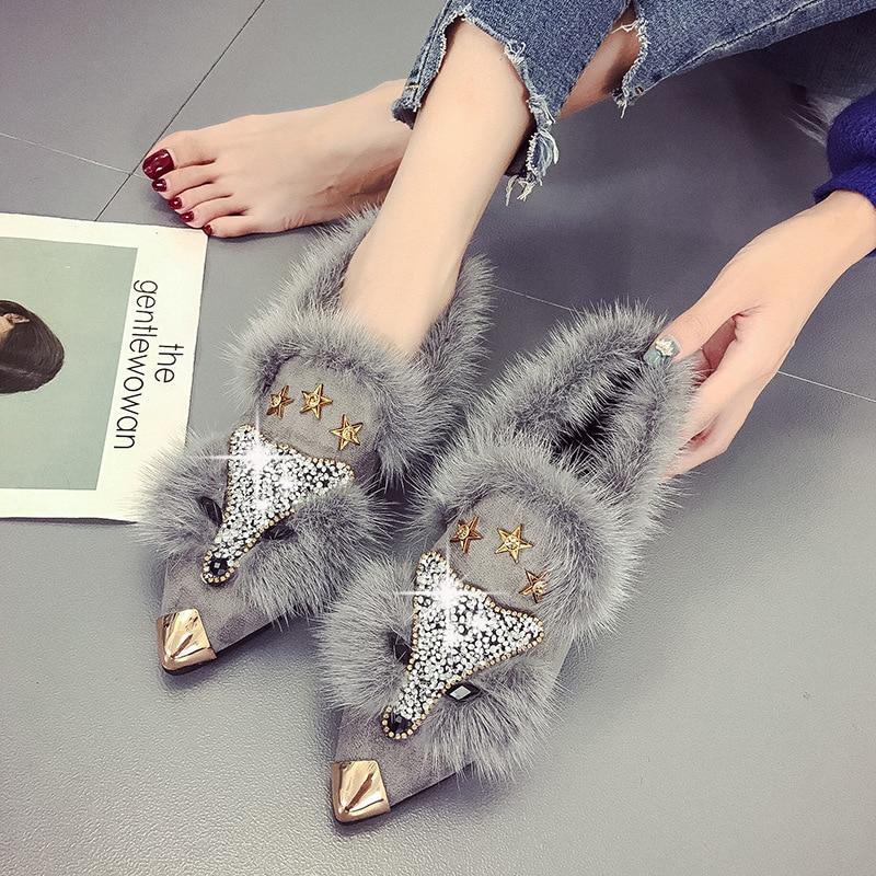SWYIVY Woman Flats Shoes Pointed Rhinestone Fox 2019 Spring New Female Fashion Casual Shoes Fur Velvet Flats Slip On Metal Toe