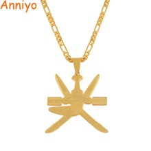 Anniyo Oman Flag Pendant Necklaces Women Men Khanjar the Symbol of Omam Jewelry Stainless Steel Patriotic Gift #064821