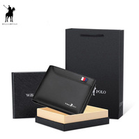2019 Men's Slim Wallet Genuine Leather Mini Purse Casual Design Bifold Wallet Fashion Brand Short Small Pouch Gift PL181342