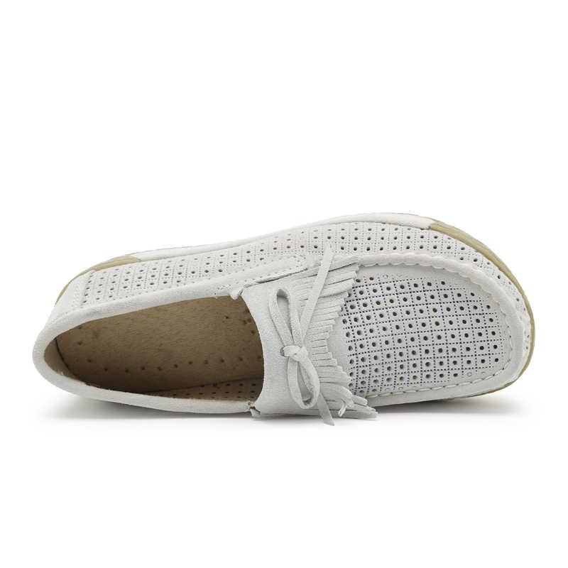 Plardin nouveau femmes plate-forme mocassins dames daim cuir mocassins à franges chaussures sans lacet gland femmes chaussures décontractées Creeper