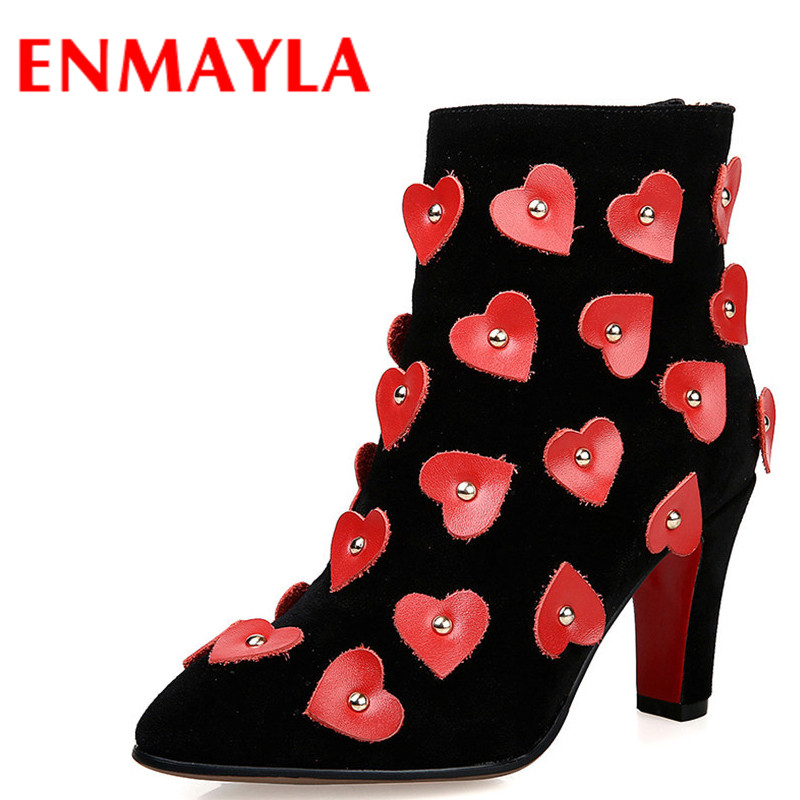 ENMAYLA High Heels Sexy Red Zipper Short Boots Spring Autumn Appliques Shoes Woman Pointed Toe Ankle Boots Women Design BootsENMAYLA High Heels Sexy Red Zipper Short Boots Spring Autumn Appliques Shoes Woman Pointed Toe Ankle Boots Women Design Boots