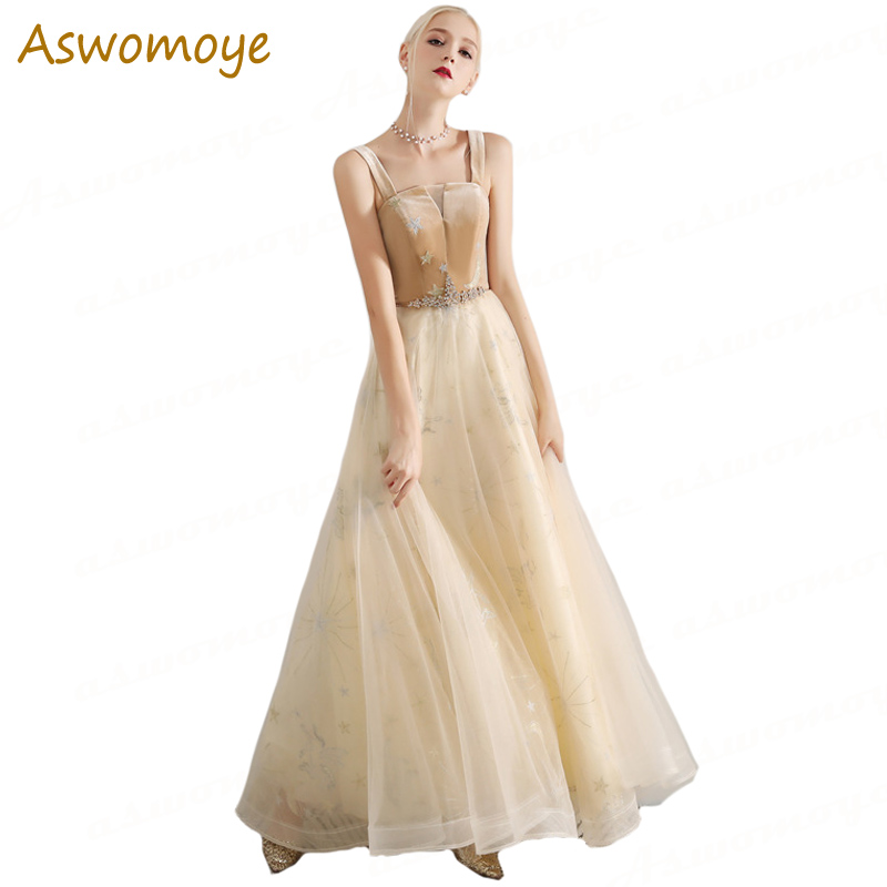 2019 New   Evening     Dress   Sexy Spaghetti Strap a Line Gold Prom Party   Dresses   Sleeveless Banquet Gown Embroidery Tulle Haute Coutur
