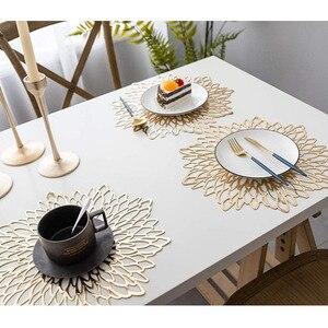 Столовые приборы из ПВХ золотистого и серебристого цвета для обеденного стола, полая подставка, подставки для горки, коврики для чаши 38*38 см