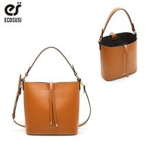 "ECOSUSI PU Leather Bucket Bag Women Handle Handbags 11"" Casual Satchel Purse Tote Bag Fashion Shoulder Bag Simple Style недорого"