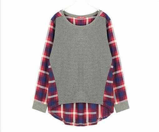 Новый 2016 Большие размеры Женская мода Пуловеры с длинным рукавом, в клетку с длинными рукавами рубашка на подкладке для девочек милый свитер, горячая Распродажа, топы для женщин, B16