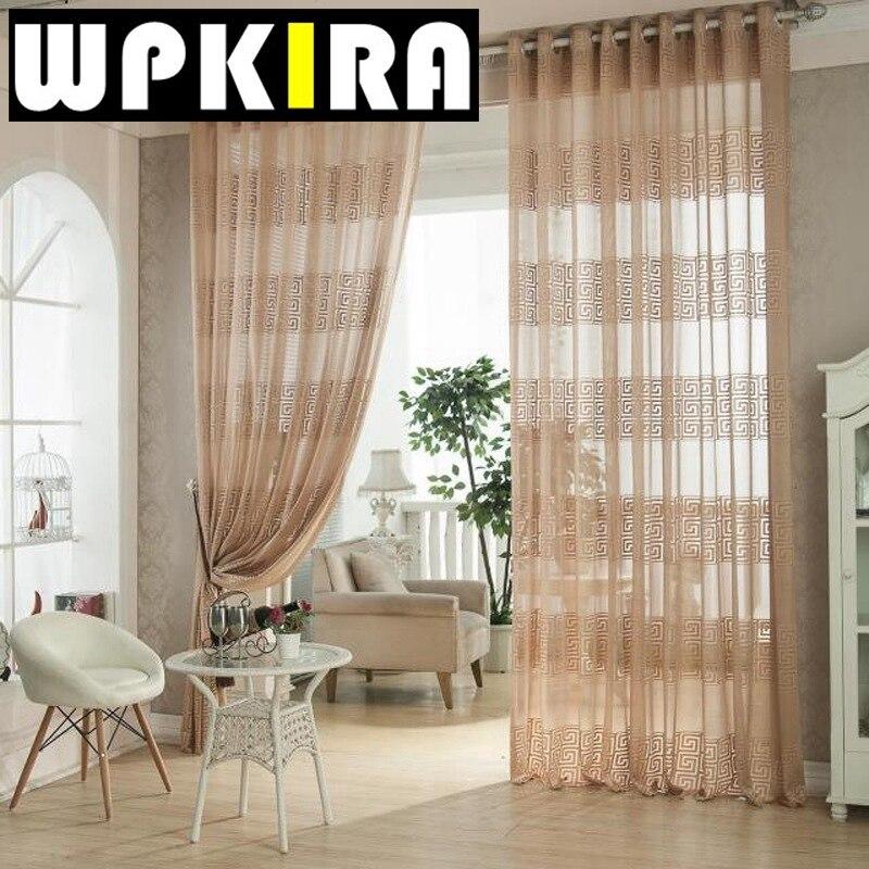 European Elegant Geometric Curtains Tulle Fabric Living Room Luxury Brown Cortinas Cotton Crochet