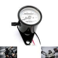 Motorfans Universal Fit Motorcycle Stainless Steel Dual Odometer Speedometer Meter Gauges Double Mileage Meter Night Light