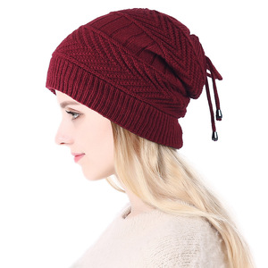 Image 1 - 2019 Ponytail Beanie Winter Skullies Beanies Caps ladies fashion multi function warm hat For Women outdoor Female Knit Hat  Z104