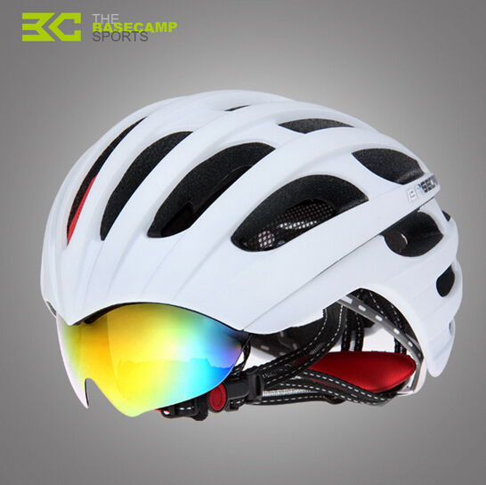 NEW Basecamp Brand Cycling Helmet with Glasses Bike Road Bike Helmet 32 Vents Bicycle Helmet & Goggles Design + 3 Lens 4 lens brand new jaw outdoor sports cycling sunglasses eyewear tr90 men women bike bicycle cycling glasses goggles
