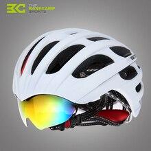 NEW Basecamp Brand Cycling Helmet with Glasses Bike Road Bike Helmet 32 Vents Bicycle Helmet & Goggles Design + 3 Lens