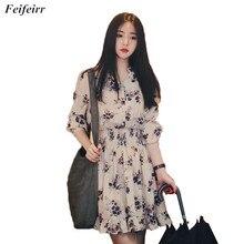 Women Dress 2019 Summer Korean version fashion wild small floral Chiffon Dress loose long-sleeved V-neck Beach Dresses Vestidos цены