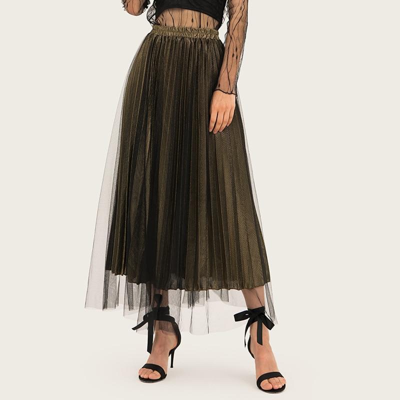 AcFirst Gold Summer Women Skirts Fashion Sexy High Waist Mid-Calf Long Skirt Clothing Plus Size S M L XL XXL Office