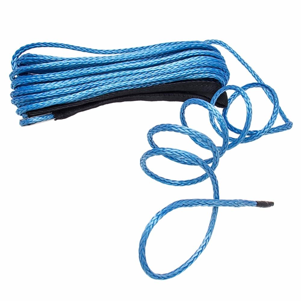 CARBOLE 1/4 x 50 Synthetic Winch Rope Line Cable 8200 LB Capacity ATV UTV W/Sheath 6mm Blue