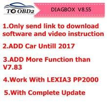 Diagbox v8.55 v7.83 atualização completa para lexia3 pp2000 lexia-3 diagbox 8.55 adicionar carro até 2017 diagnóstico para citroen/para peogeot