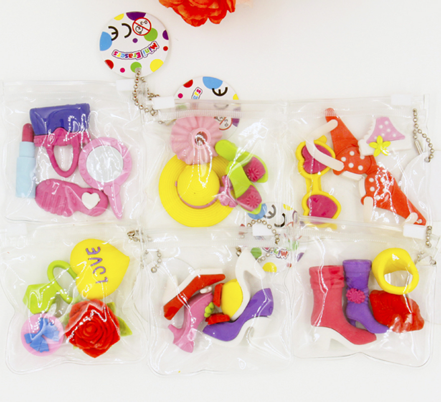 Packs Of Assorted Cute Girls Favorite Puzzle Erasers Sweet - Children's birthday goodie bags