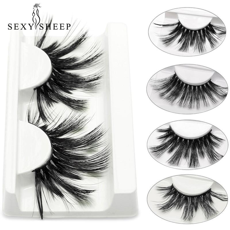 SEXYSHEEP 25mm 3D Faux Mink Eyelashes Thick False Eyelash Criss-cross Strands Cruelty Free High Volume Mink Lashes Dropshipping