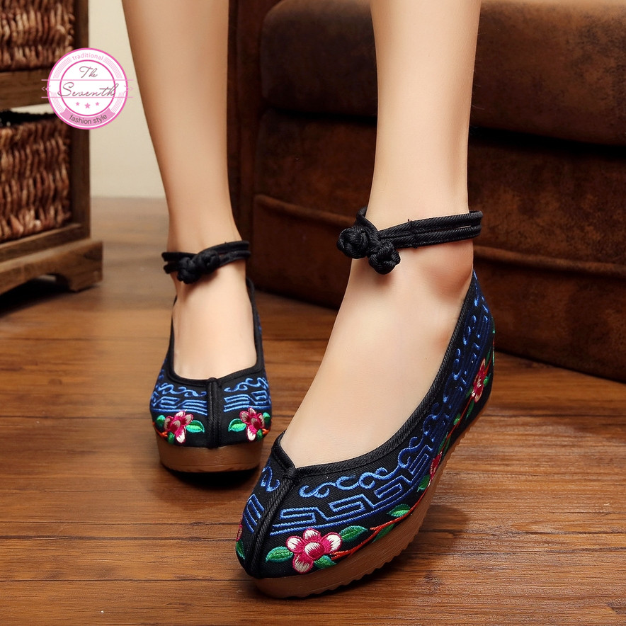 Fashion Old Peking Cloth Shoes Chinese Style Inside Increased Mary Janes Embroidery 5cm Pumps