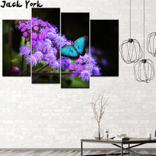 Canvas Painting Butterfly summer insect 4 Pieces Wall Art Modular Wallpapers Poster Print for living room Home Decor