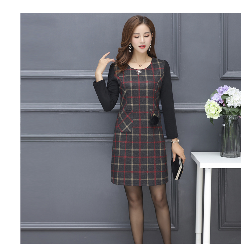 Winter Woman Elegant Tweed Dress Red Yellow Plaid Pattern Blends Robe Femme Thicken Fleece Dresses Woman Warm Shift Dress Office Outfits (6)