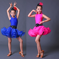 Girls Latin Dance Dress for Compeition Children Modern Ballroom Stage Dance Dress Tango Dancing Dress costumes Dancewaer Outfits