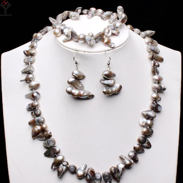 Women Jewelry Set 8-15mm Light gray Baroque Pearl necklace bracelet dangle hook earring Natural Freshwater pearl