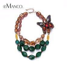 EManco Estilo Retro Étnica Tendencia de Múltiples Capas Accesorios Collar para Las Mujeres Verde Resina Mariposa Joyería de Moda Desmontable