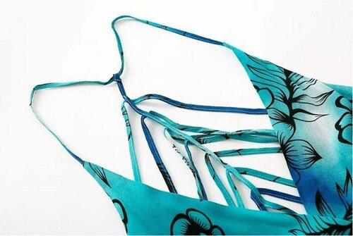 Boho Cross Deep V-Neck Floral Print Hollow Backless Skater Ruffles Short Jumpsuit 6