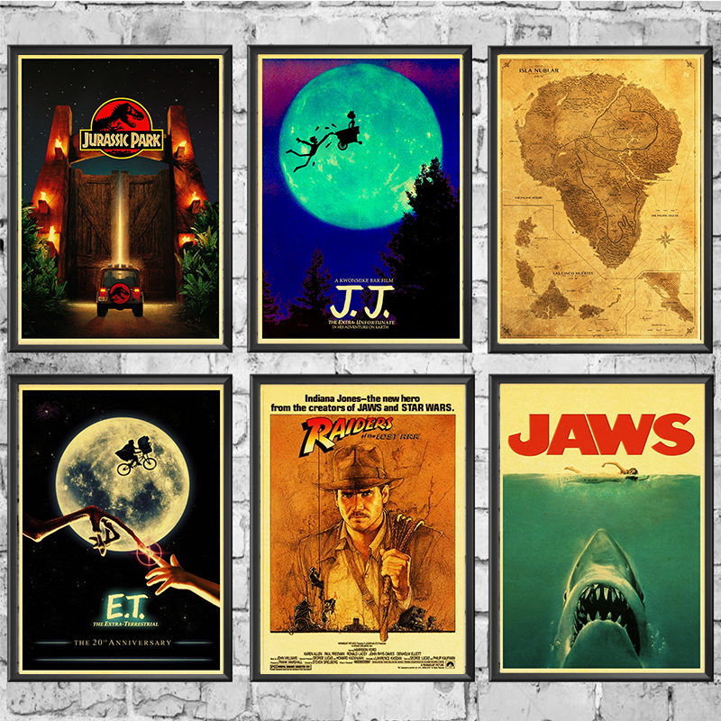 E T JAWS The Termina Jurassic Park Spielberg Movie Posters Retro Wall Posters Art Printed Painting E.T. /JAWS/The Termina/Jurassic Park Spielberg Movie Posters Retro Wall Posters Art Printed Painting Wall Stickers