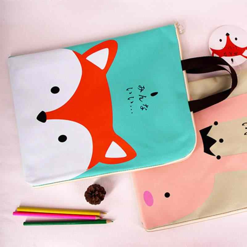 Cute Cartoon Zipper A4 File Bag Multi-Function Student Portfolio Bag Travel Storage Bag