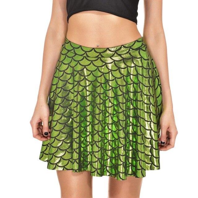 dd257c3ee Falda de lentejuelas verano verde Casual alta cintura falda escala pescado  mujeres Sexy Club faldas