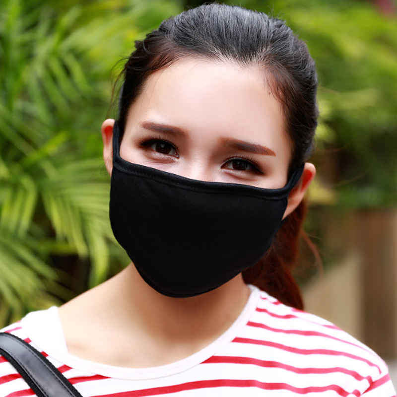 Black Cotton Yarn Mouth Face Mask Windproof Anti Dust Cycling Muffle Respirator Mask Anti-Dust Wearing Respirator zlrowr 2pcs black health cycling anti dust cotton mouth face respirator unisex mask