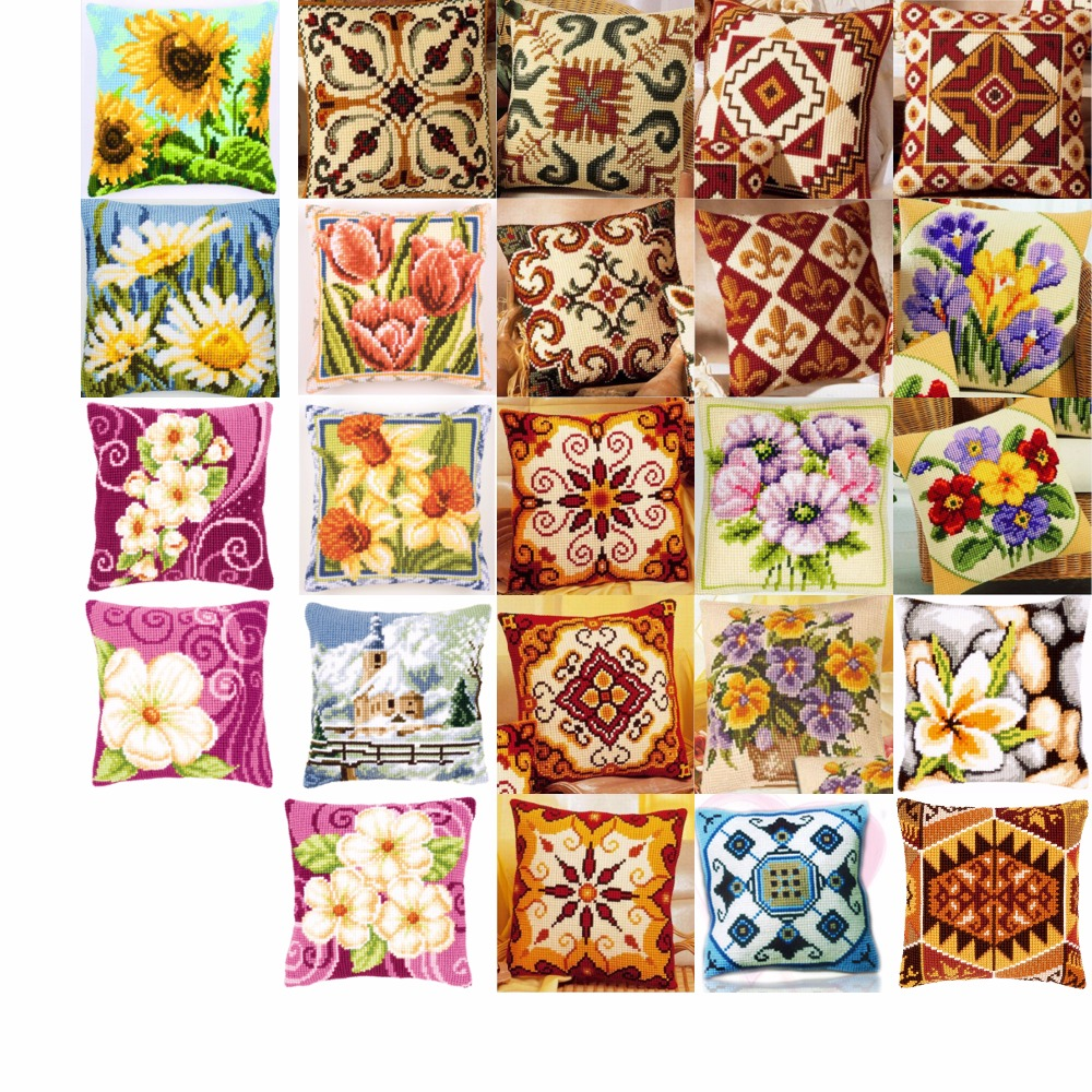 flowers style Cross Stitch Pillow Mat DIY Craft  Tapestry Pillow 42CM by 42CM Needlework Crocheting Cushion Embroideryflowers style Cross Stitch Pillow Mat DIY Craft  Tapestry Pillow 42CM by 42CM Needlework Crocheting Cushion Embroidery