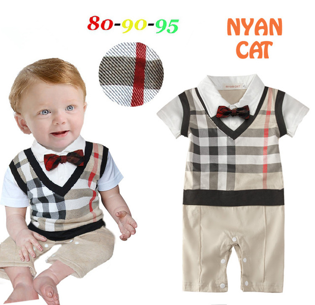 2016 baby boy romper bow tie short sleeve infant gentleman summer romper toddler jumpsuits bebe rompers baby costume clothing