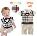 2016 menino cavalheiro romper gravata borboleta manga curta infantil romper verão macacões criança bebe macacão traje do bebê roupas