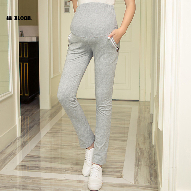 High Waist Cotton Maternity Pants Overalls Casual Autumn Winter Maternity Clothing Elastic Waist Sports Pants for Pregnant Women