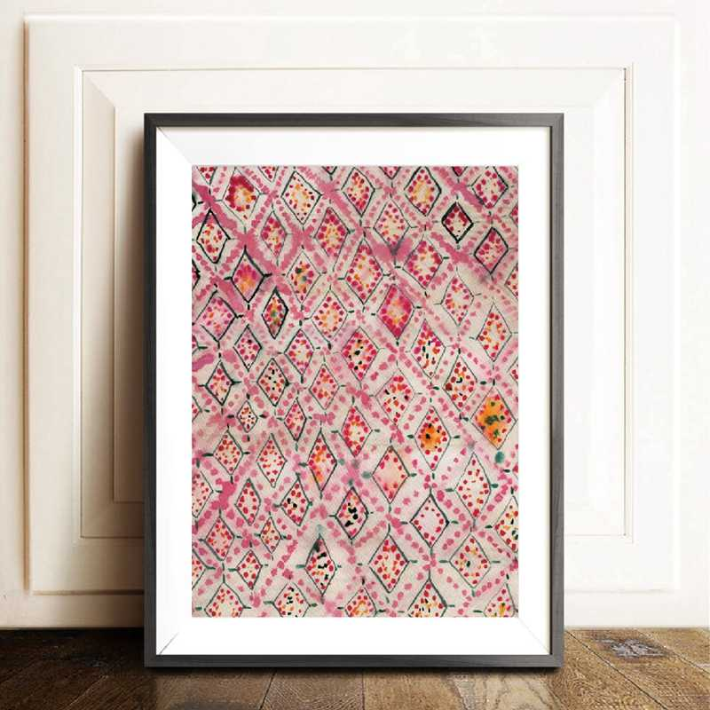 Vintage Pink Rug Art Prints Boho Wall Decor Eclectic Poster , Watercolor Bohemian Canvas Painting Modern Abstract Wall Art