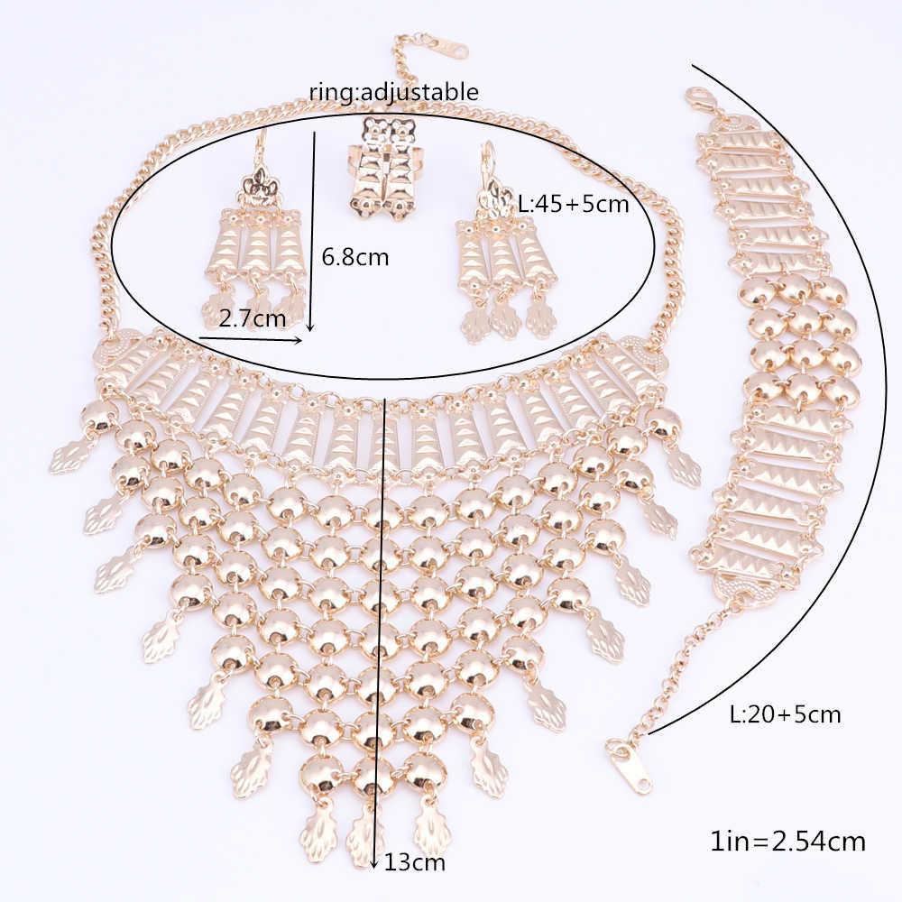 OEOEOS Indian Bridal Jewelry Sets For Women Dubai Fashion Necklace Earring Bracelet Set Wedding Jewellery Bridal Costume Jewelry