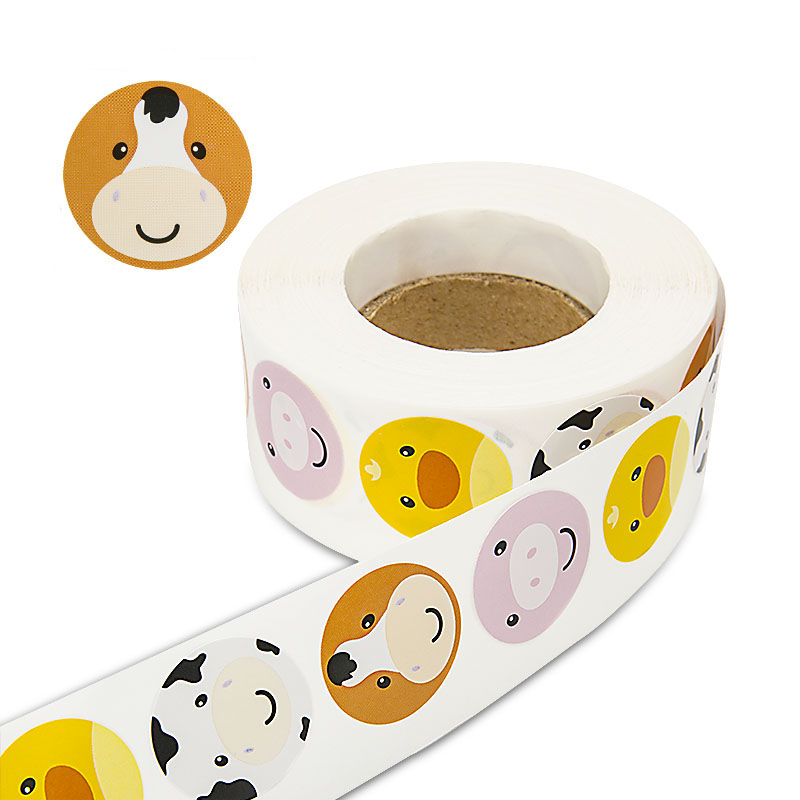 Four animals Round Stickers 500 Labels per roll cute stickers for seal labels Adhesive sticker scrapboking children DIY decorate in Stationery Stickers from Office School Supplies