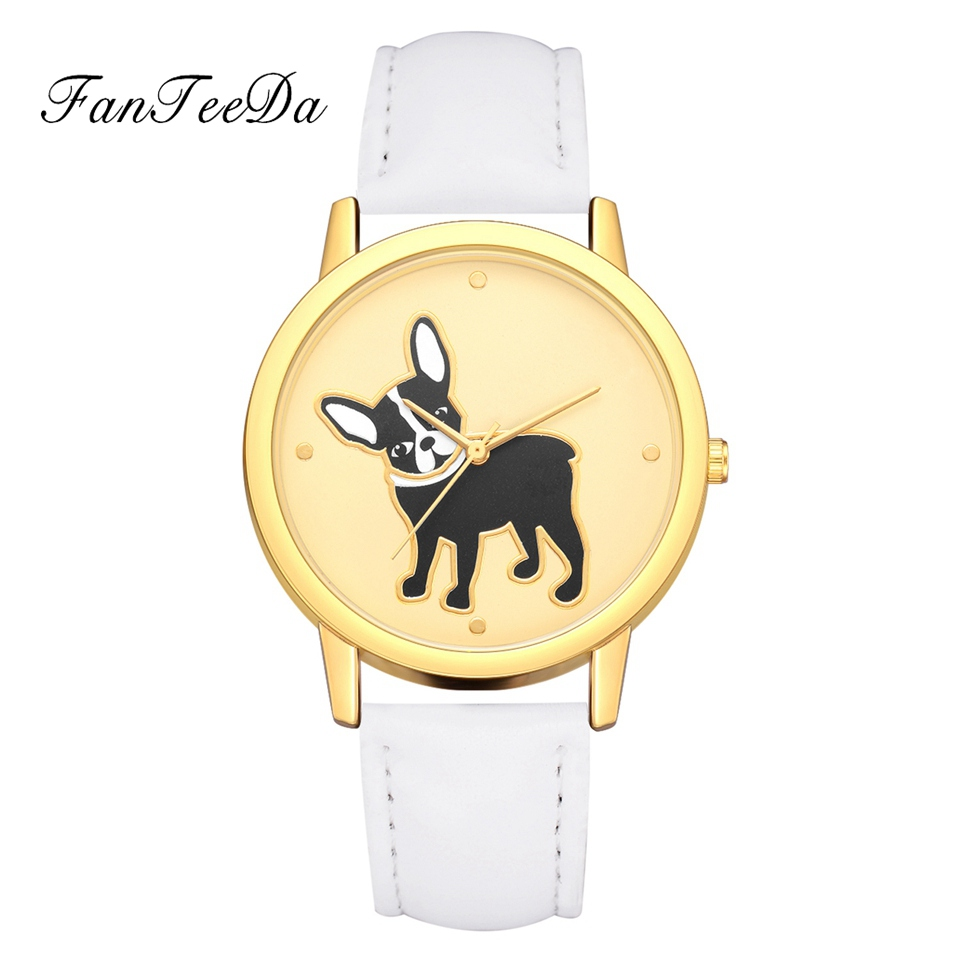 Fanteeda Brand Watches For Women Luxury Dog Dial Simple Leather Wathband Cartoon Jewerly Clock Fashion Ladies Sport Gift Watch