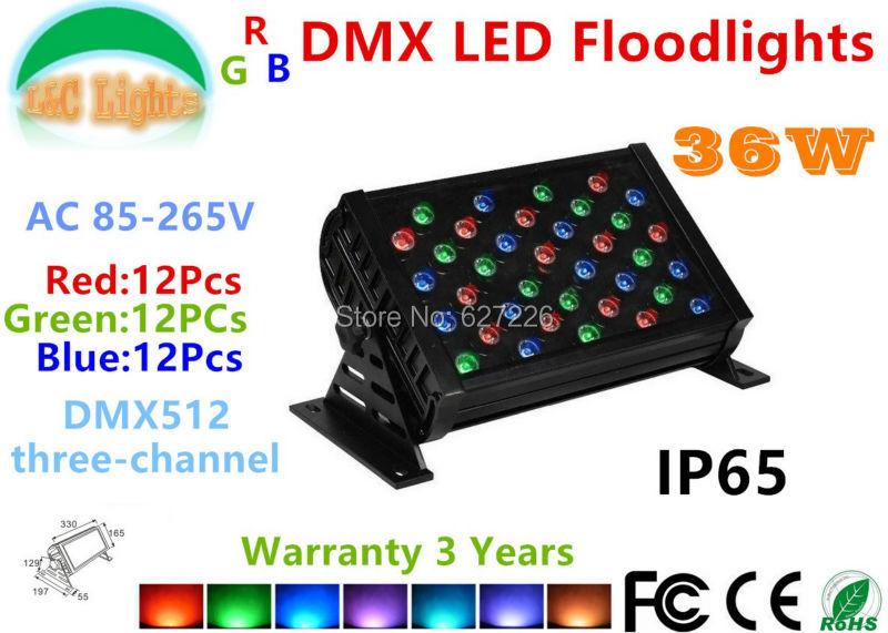 36W Three-channel DMX LED Floodlights 85-265V IP65 Waterproof Outdoor lighting LED Colorful Landscape lighting changes