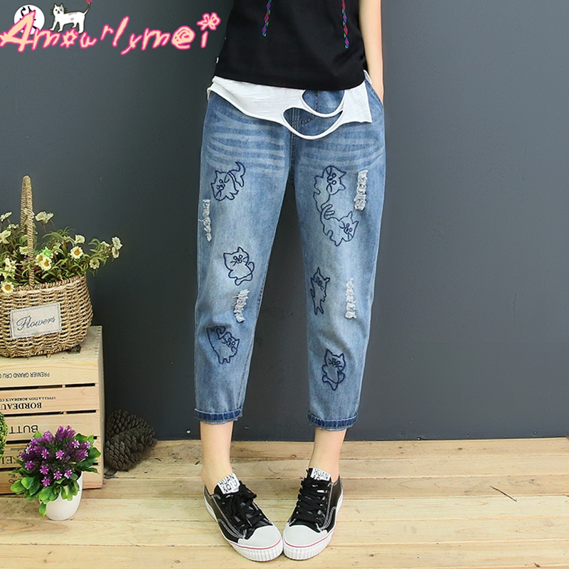 Mori Girl Cute Cat Embroidery Denim Harem   Pants   2019 Spring Summer Women Loose Elastic Waist Casual Jeans   Pants     Capris   Plus Size