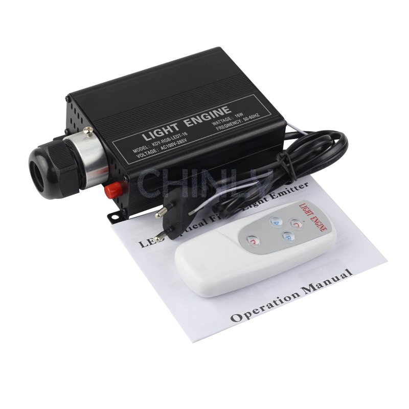 ФОТО RGB 16W LED Fiber Optic Engine Driver with 4key RF Remote controller for all kinds fiber optics