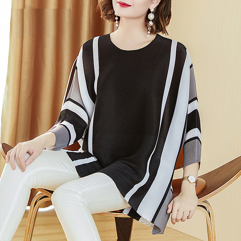 Changpleat 2019 Summer New stripe Women T shirts Tide Miyak Pleated Fashion Tees loose O neck Large Size 3 4 Sleeve T shirt Tide in T Shirts from Women 39 s Clothing