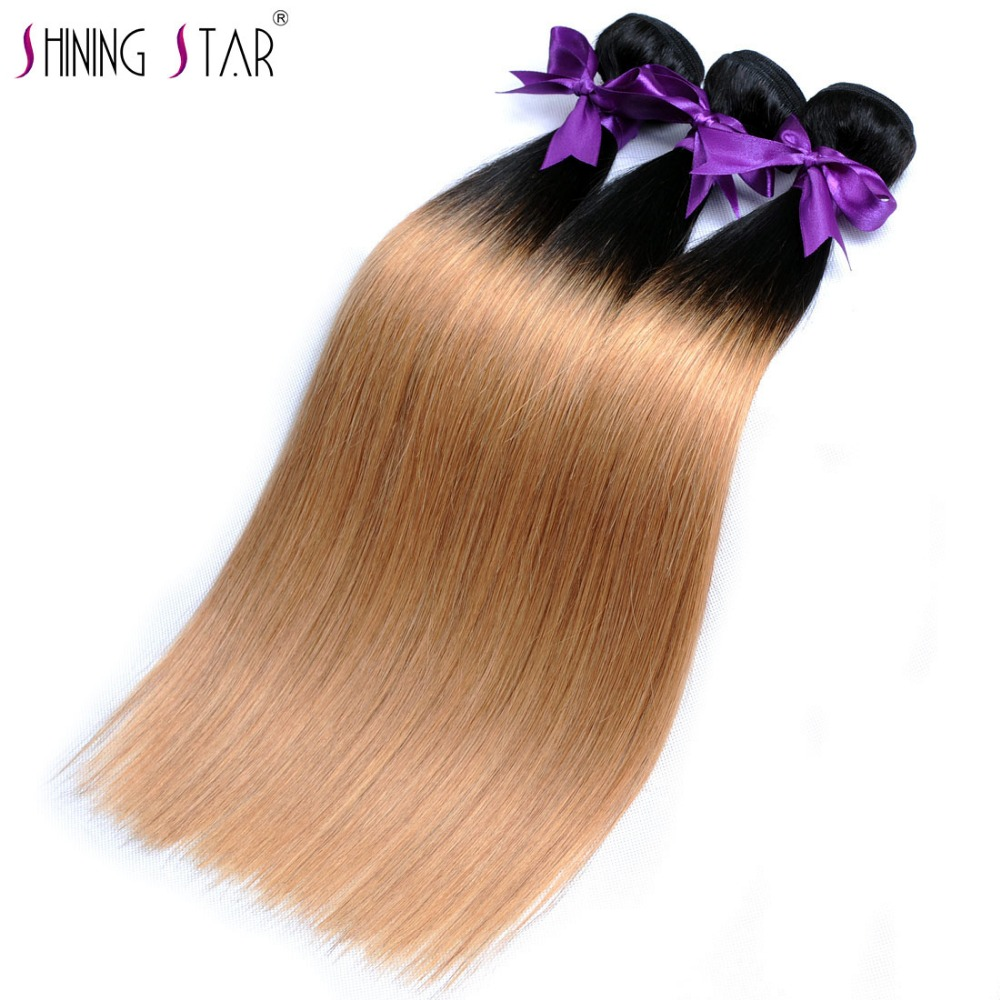 Ombre Brazilian Straight Hair 3 Bundles T1B/27 Color Human Hair Weave Ombre Hair Bundles Shining Star Non Remy Free Shipping