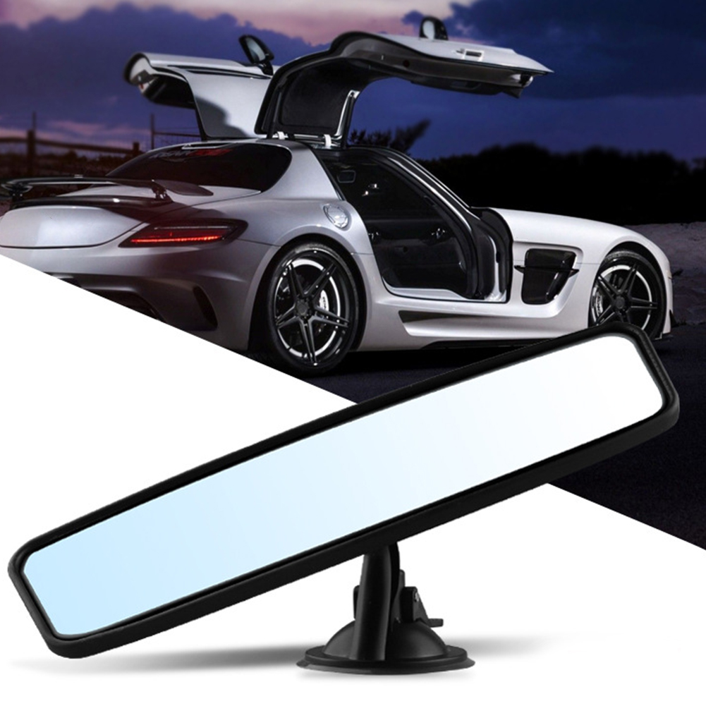 Rear View Interior Car Mirror Adjustable Suction Cup Wide Long Safety Universal
