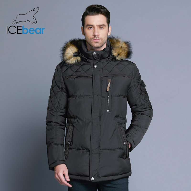 ICEbear 2018 Fashion Winter New Jacket Men Warm Coat Fashion Casual Parka Medium-Long Thickening Coat Men For Winter 15MD927D 1