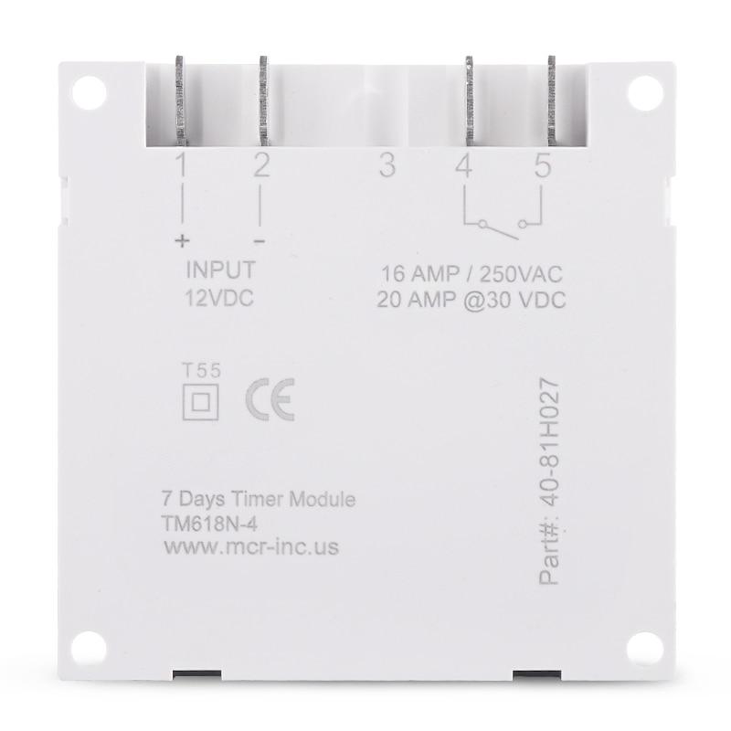 Timer digitale LCD da 1.598 pollici con grande DISPLAY 12V DC interruttore orario programmabile per 7 giorni con relè incorporato UL all'interno